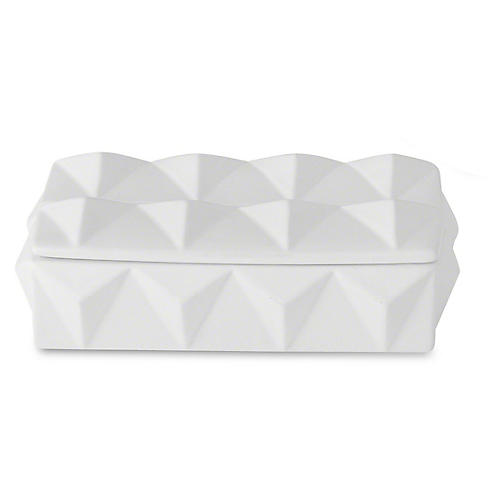 "11"" Braque Decorative Box, Matte White"