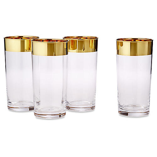 S/8 24-kt Banded Highballs Glasses, Gold/Clear