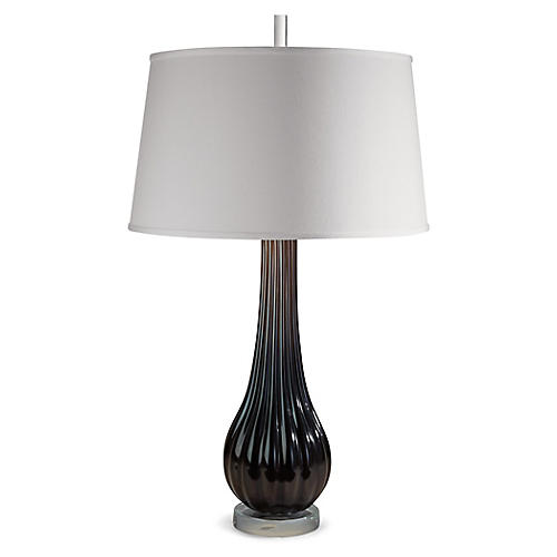 Ribbed Narrow Table Lamp, Black/Clear