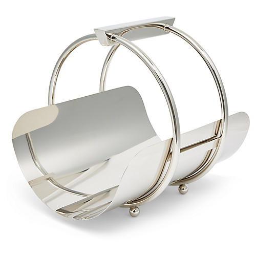 "14"" Lilia Magazine Rack, Polished Steel"
