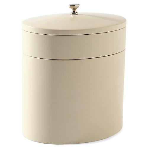 "6"" Camila Organizer Box, Ivory/Nickel"