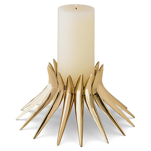 "10"" Corona Candleholder, Polished Brass"
