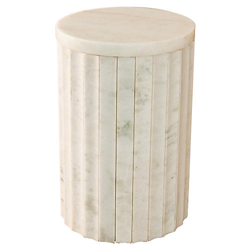 Marble Side Table, White