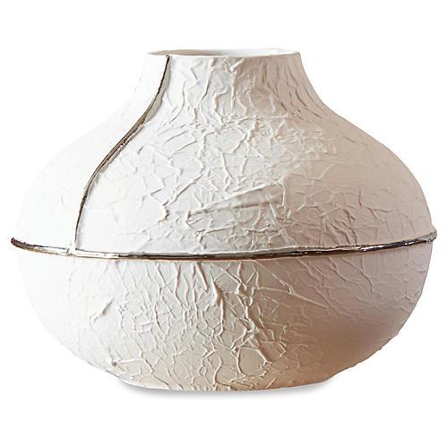 """11"""" Parchment Wide Vase, Matte White/Silver"""
