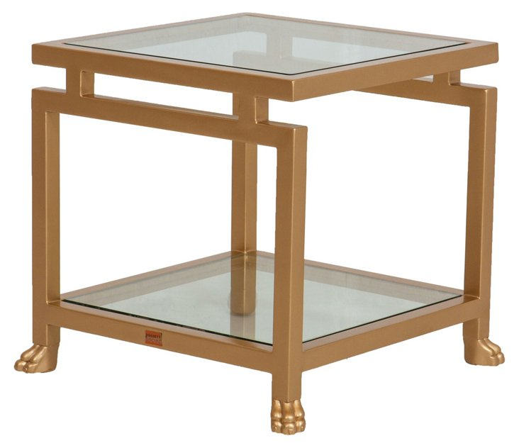 Pagoda Glass Foot Side Table, Gold