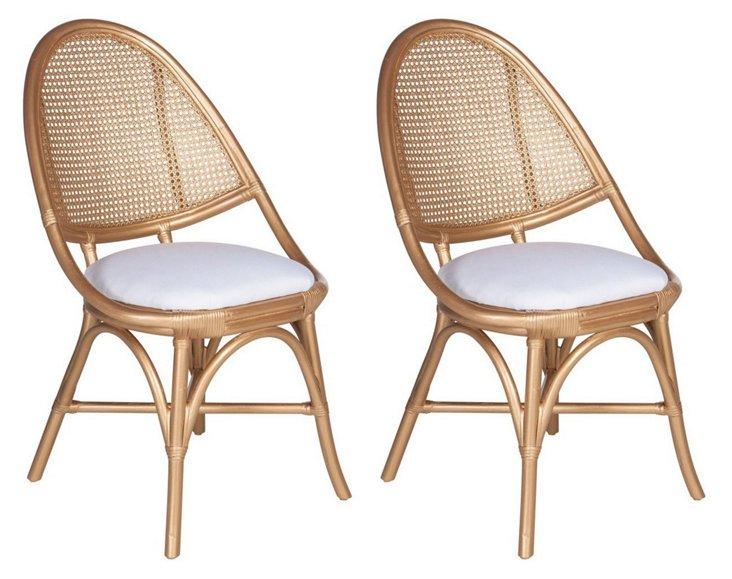 Gold Annie Egg Chairs, Pair