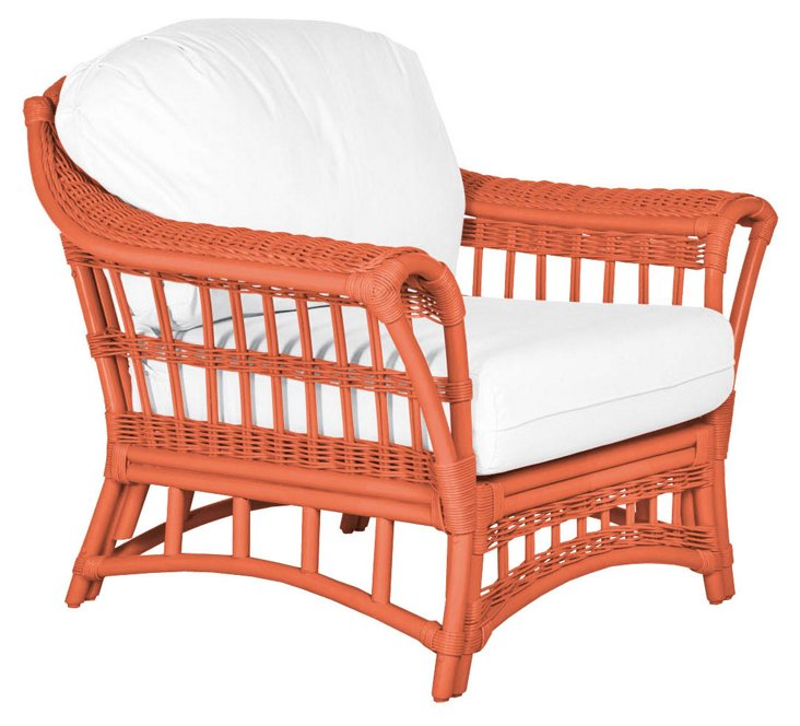 Sullivan Lounge Chair, Coral/White