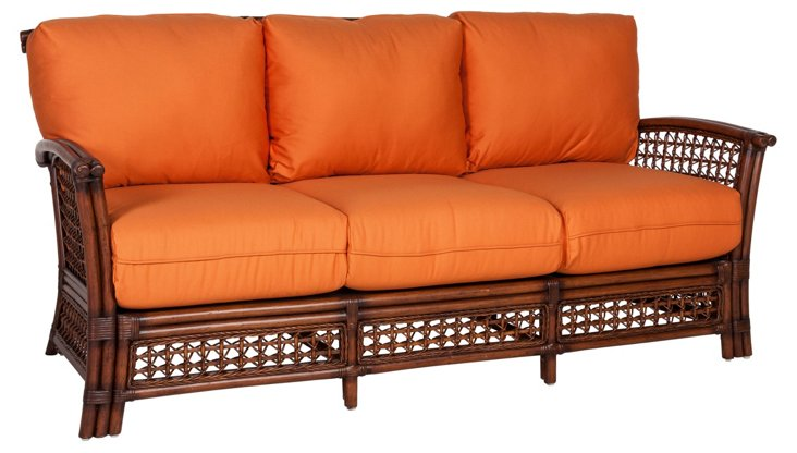 Joyce Sofa, Orange/Mahogany