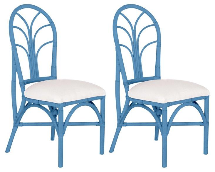 Blue Bermuda Chairs, Pair