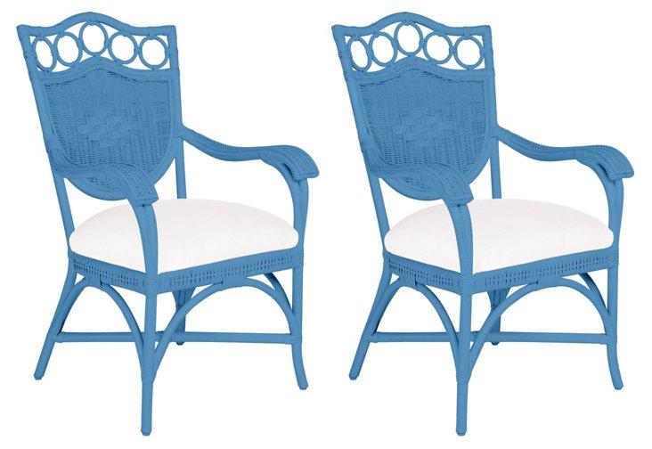 Blue Lee Armchairs, Pair