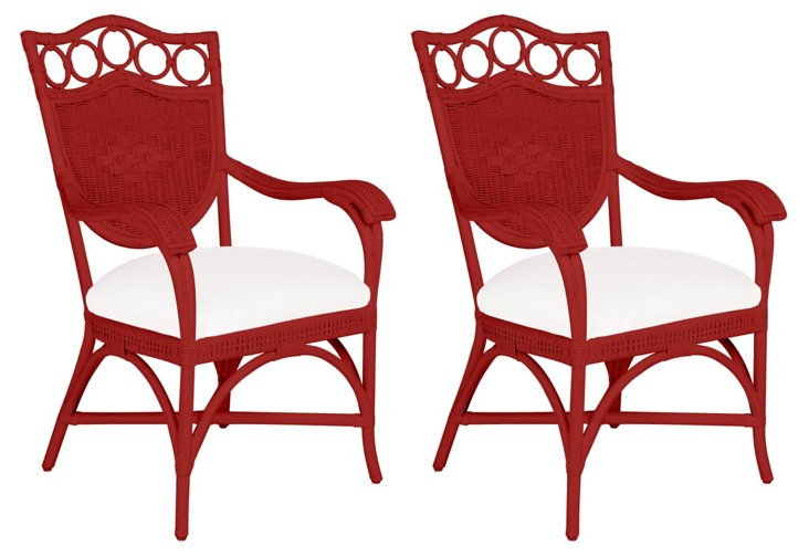 Red Lee Dining Armchairs, Pair