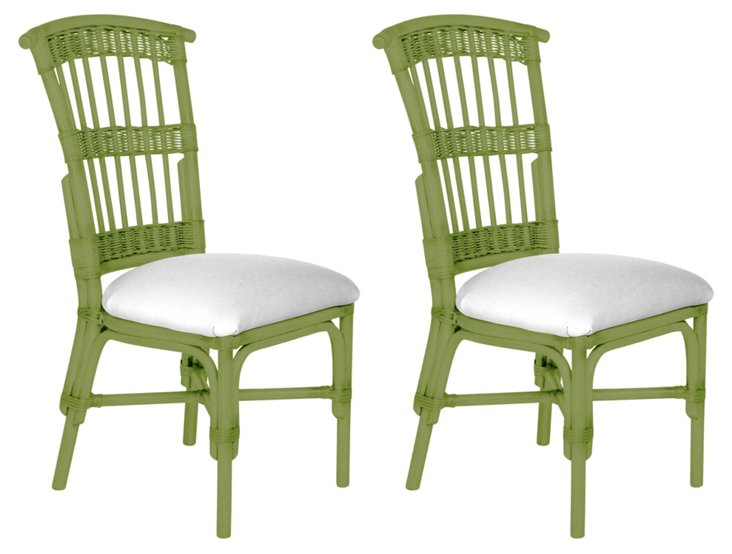 Green Shore Dining Chairs, Pair