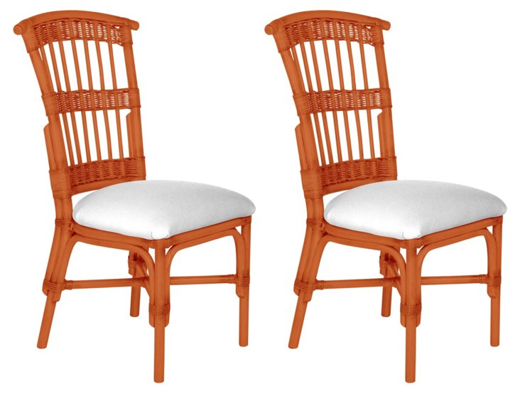 Coral Shore Side Chairs, Pair