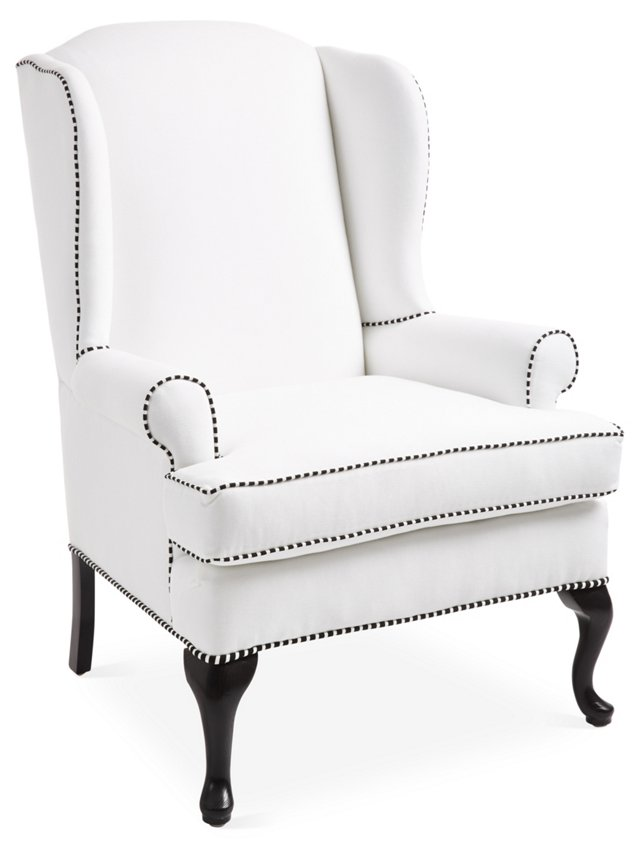 Chelsea Striped Welt Wingback, White