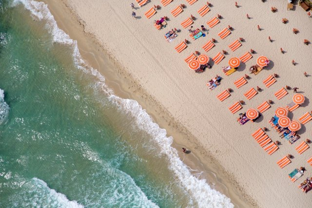 St. Tropez Orange Umbrellas, Oversize
