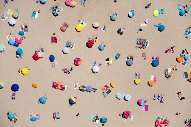 Gray Malin, Lisbon Beach Umbrellas