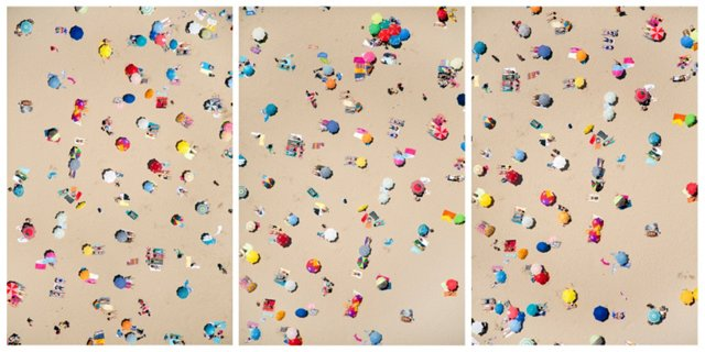 Lisbon Beach Umbrellas Triptych