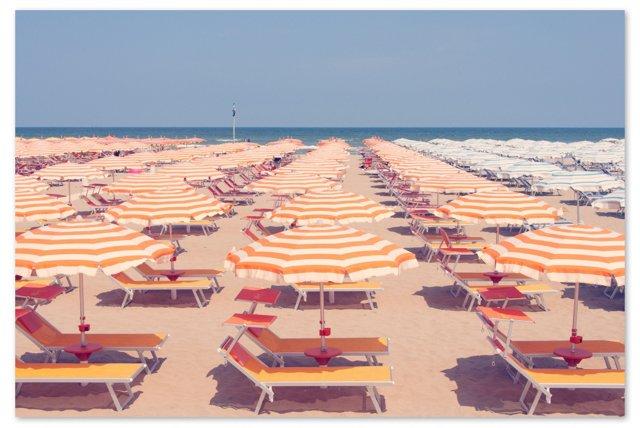 Gray Malin, Rimini Orange Umbrellas