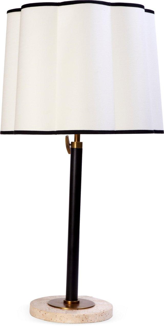 Table Lamp w/ Travertine & Brass Base