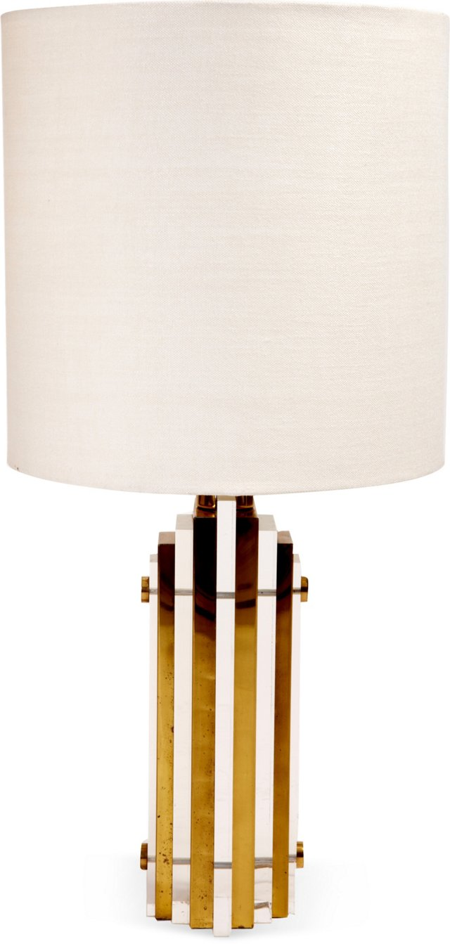 Lucite & Brass Stacked Lamp