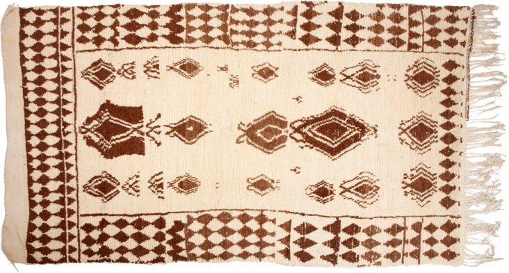"""Moroccan Beni Ourain Rug, 4'7"""" x 8'"""