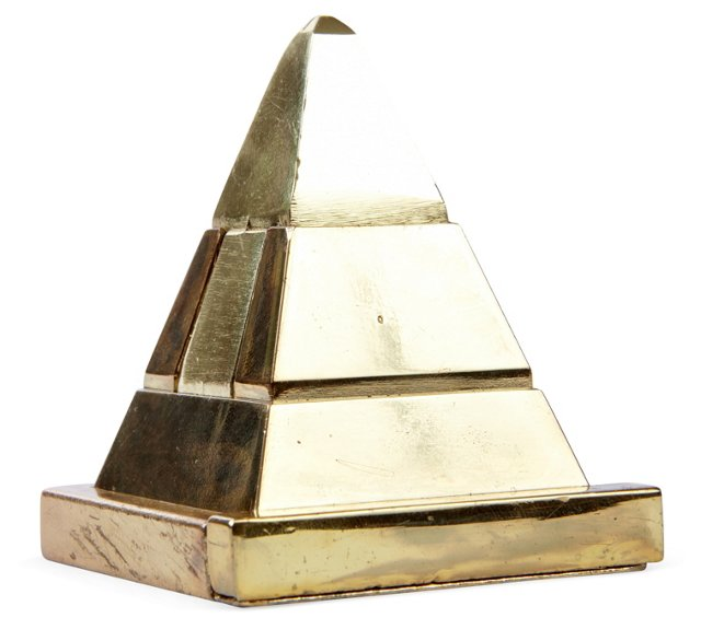 Brass Pyramid Puzzle Paperweight
