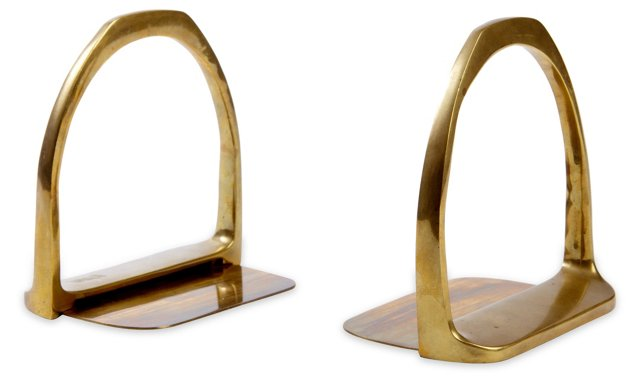 Brass Arch Bookends, Pair
