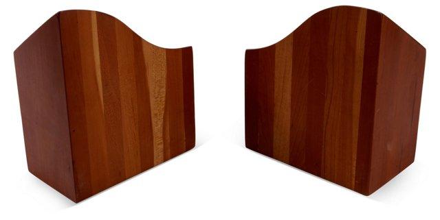 Walnut Sculptural Bookends, Pair