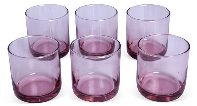 Rose Glass Juice Glasses, Set of 6