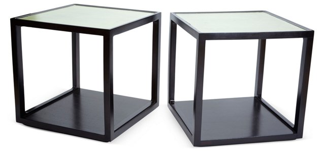 Green Leather Wormley Tables, Pair