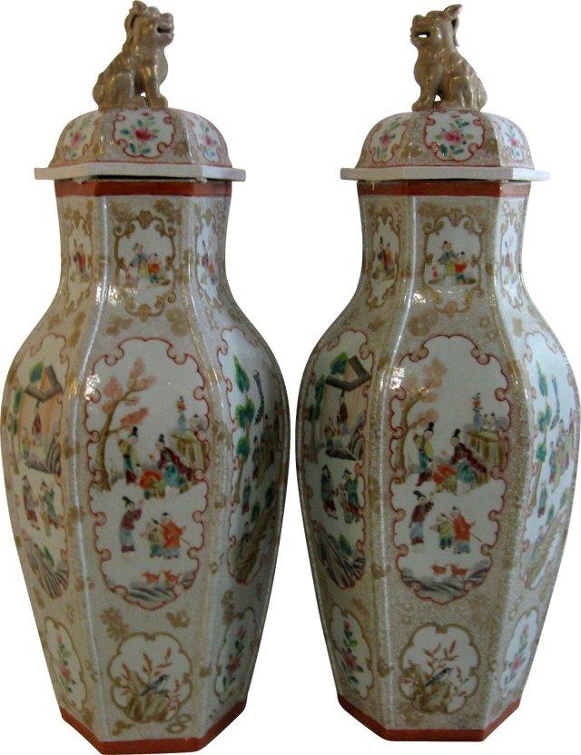 Foo Dog Lidded Vases, Pair