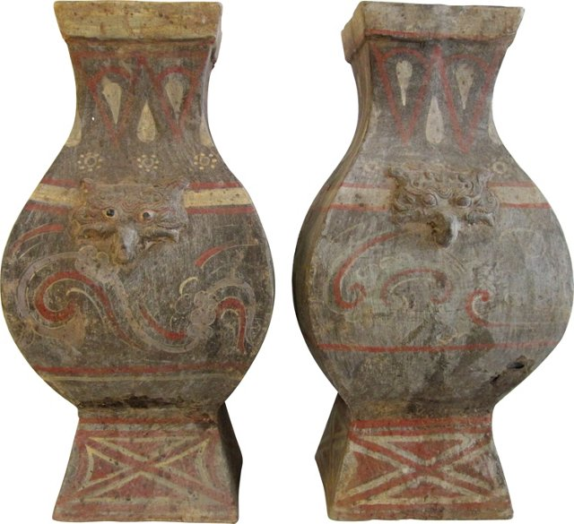 Square Han-Style Vases, Pair