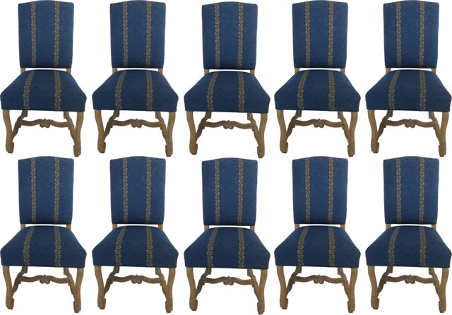Bleached Oak Dining Chairs, Set of 10