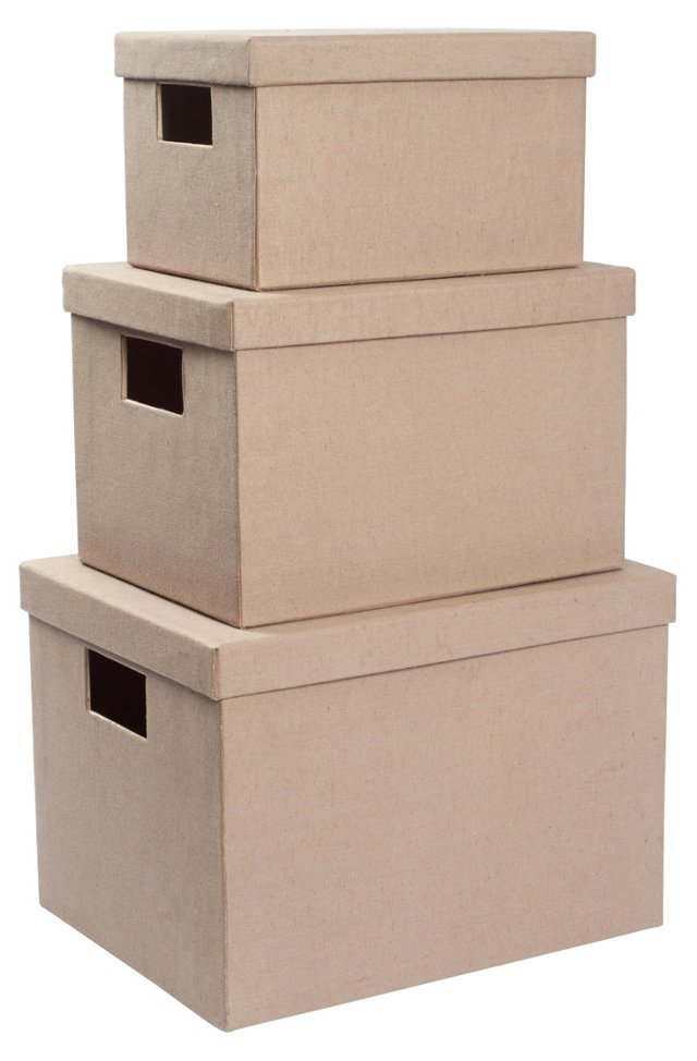 Asst of 3 Nesting Boxes, Beige