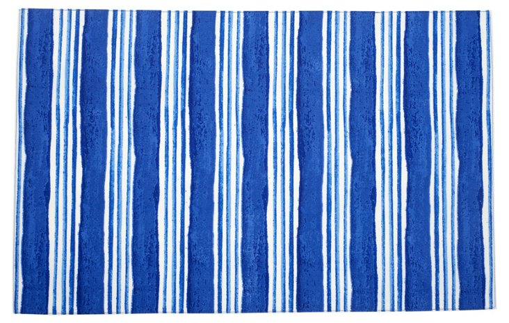S/4 Large-Stripe Place Mats, Blue
