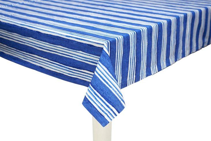 Large-Stripe Tablecloth, Blue