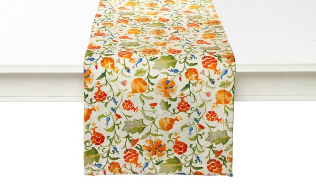 Floral Pom Table Runner