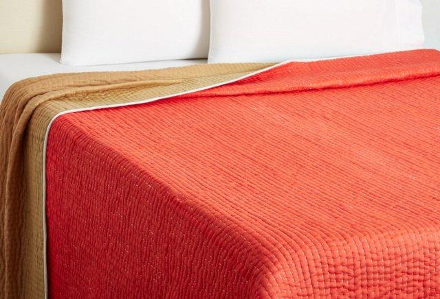Twin Seed-Stitch Quilt, Cinnabar/Dune