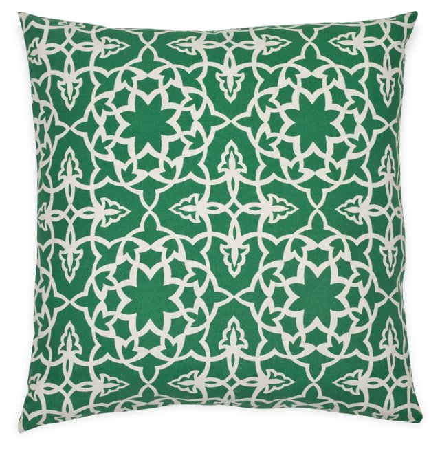 Filigree 20x20 Cotton Pillow, Green
