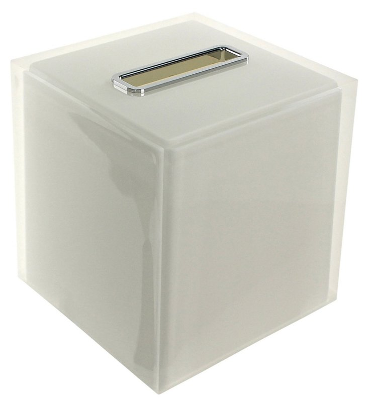 Rainbow Tissue Box, White