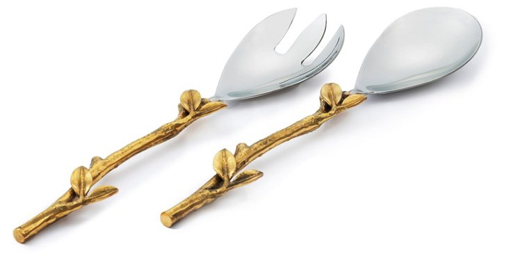 Silver-Plated Leaf Salad Serving Set