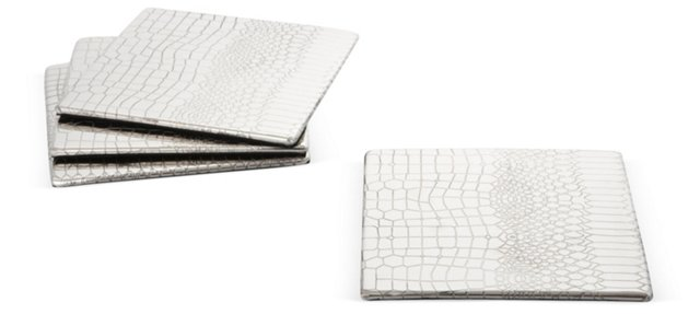 S/4 Silver-Plated Crocodile Coasters