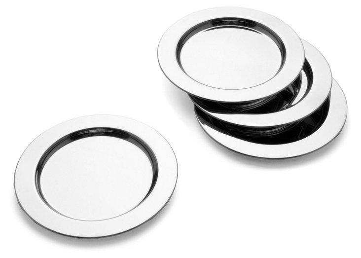 S/4 Nickel-Plated Coasters
