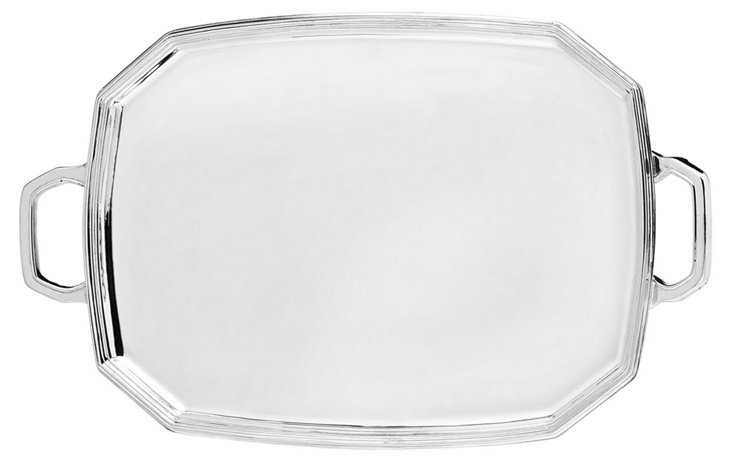 Silver-Plated Octagonal Tray w/ Handles