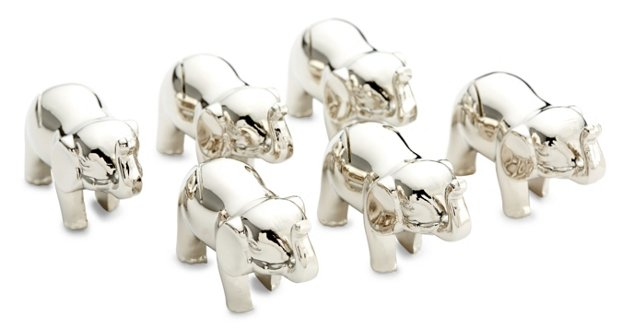 S/6 Small Elephant Place Cards