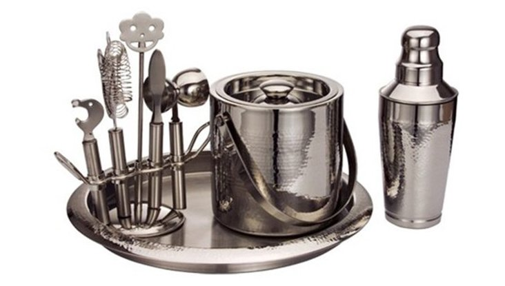 9-Pc Hammered Essentials Bar Set