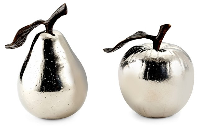 Silver-Plated Apple & Pear Shakers