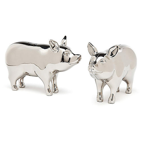 Silver-Plated Pig Salt & Pepper Shakers