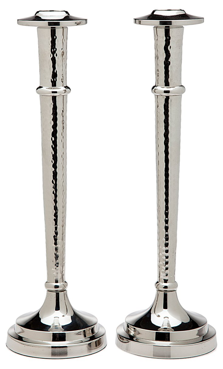 """S/2 12"""" Hammered Candlesticks, Silver"""