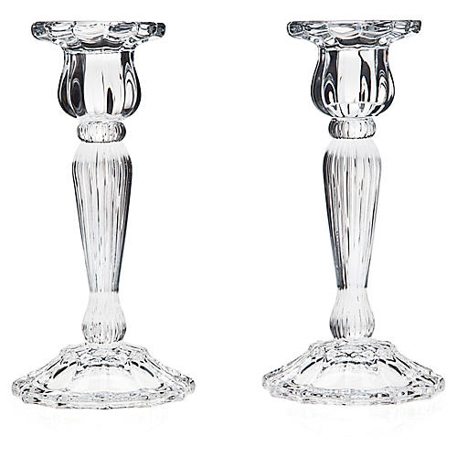 Pair of Crystal Taper Candleholders